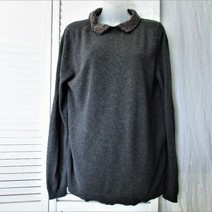 Kimchi Blue Sweaters - Kimchi Blue charcoal gray sheer back sweater L